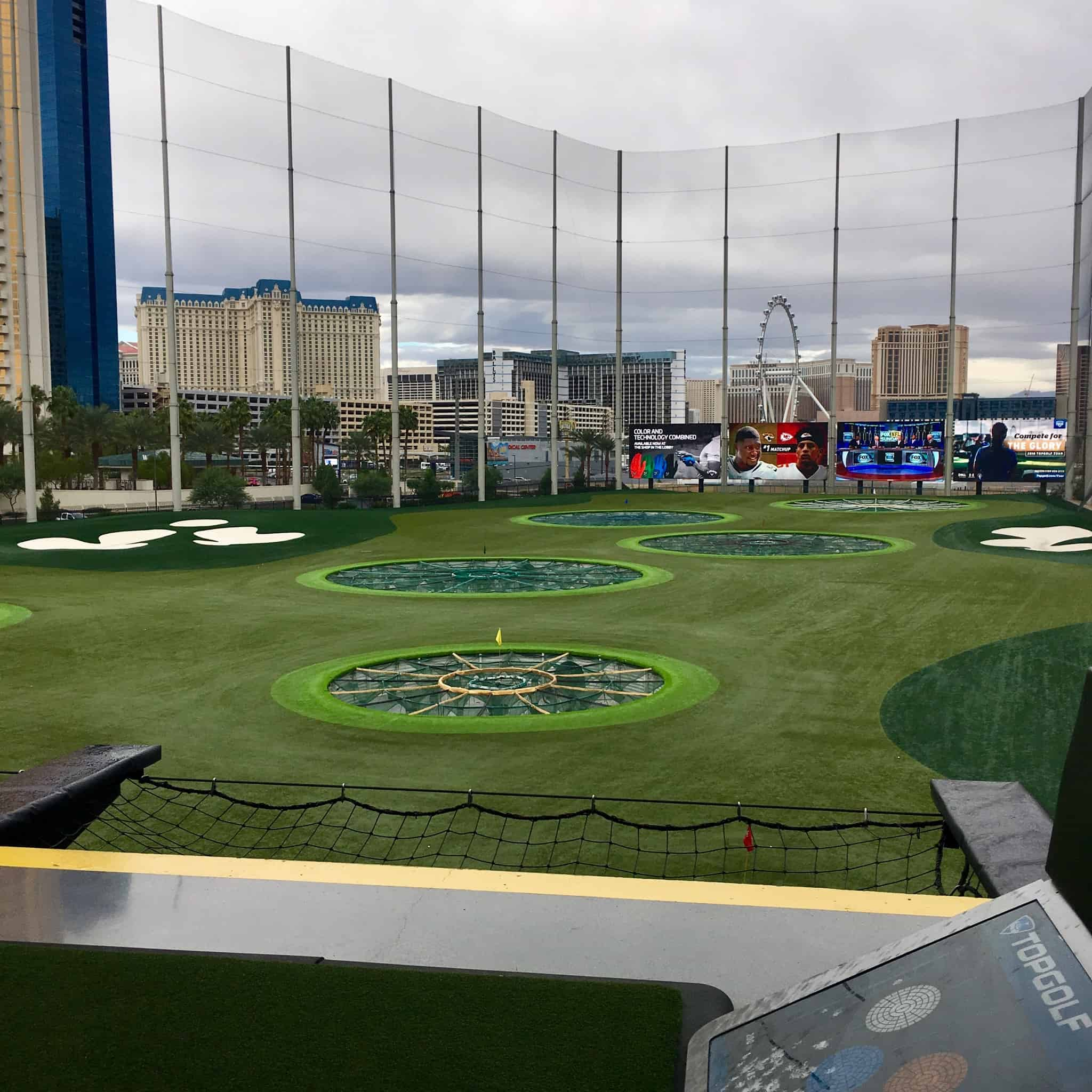 Driving Range at Topgolf with the Strip in the distance