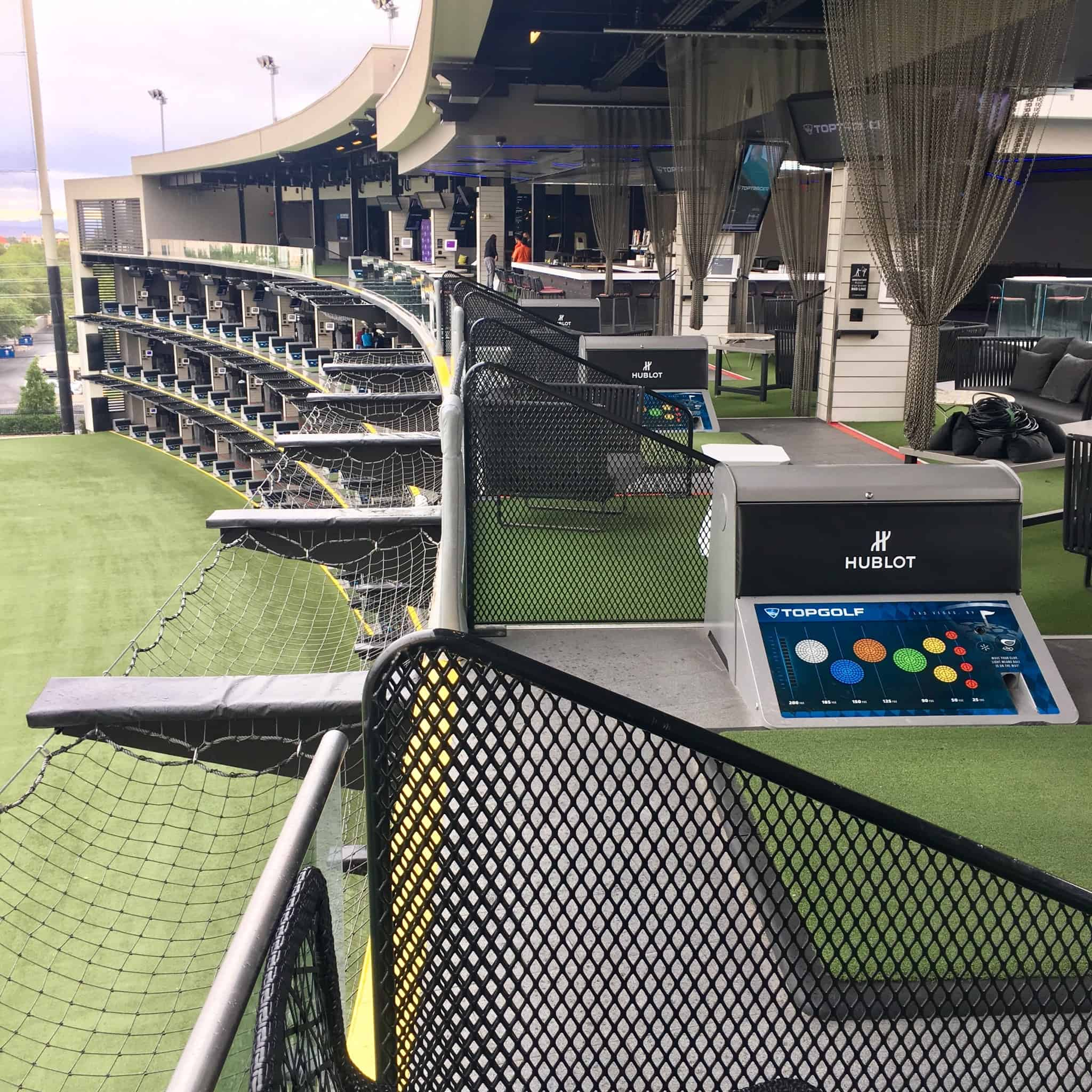 A typical hitting bay at Topgolf