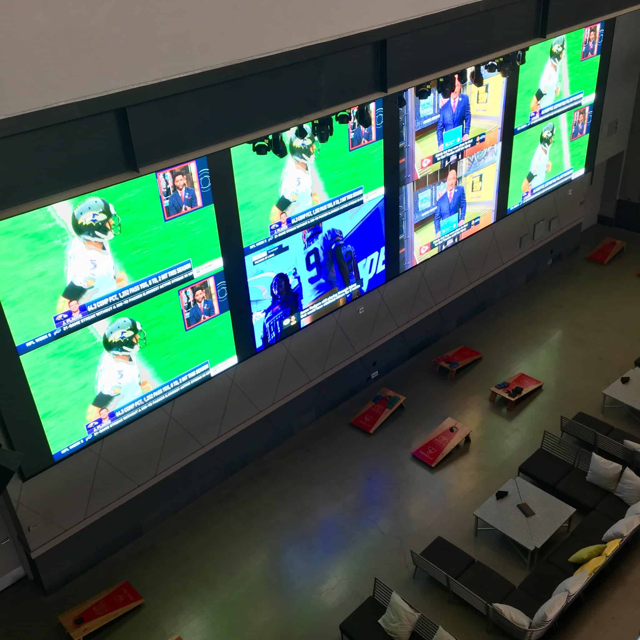 Screens for viewing sports at Topgolf