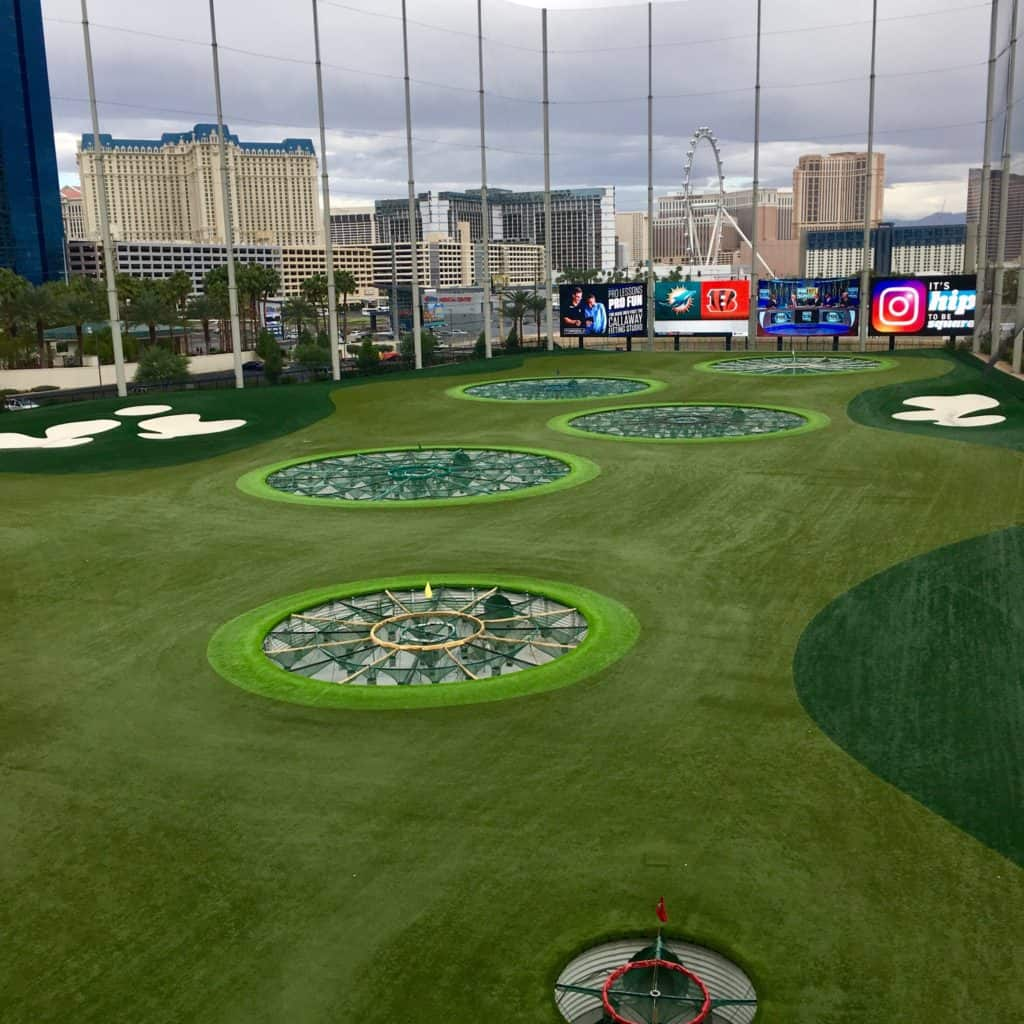 View of the range from a hitting bay