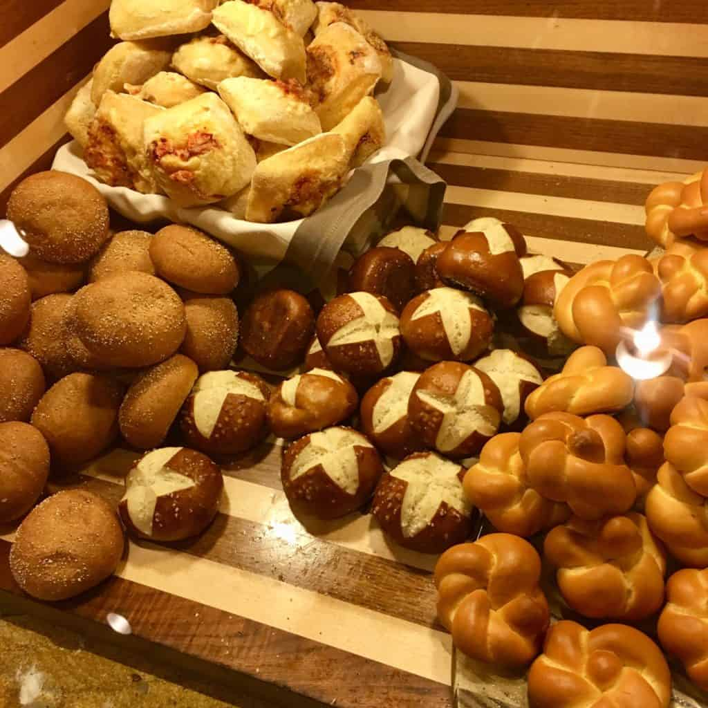 Assortment of bread offerings at Wicked Spoon