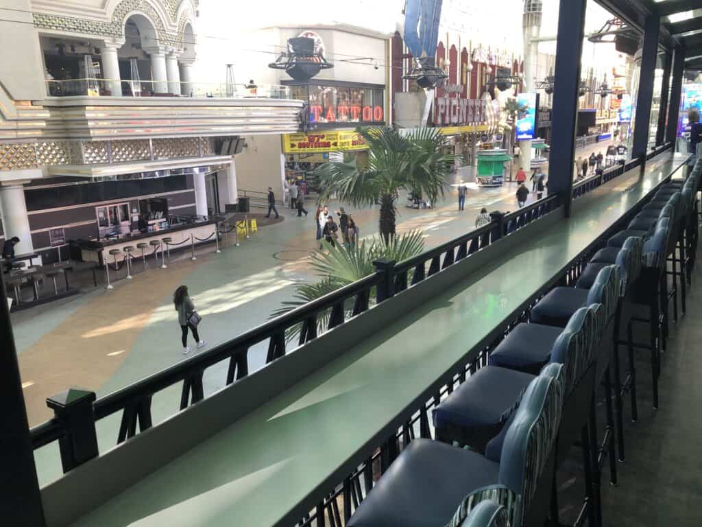 Seating at the bar overlooking Fremont Street below