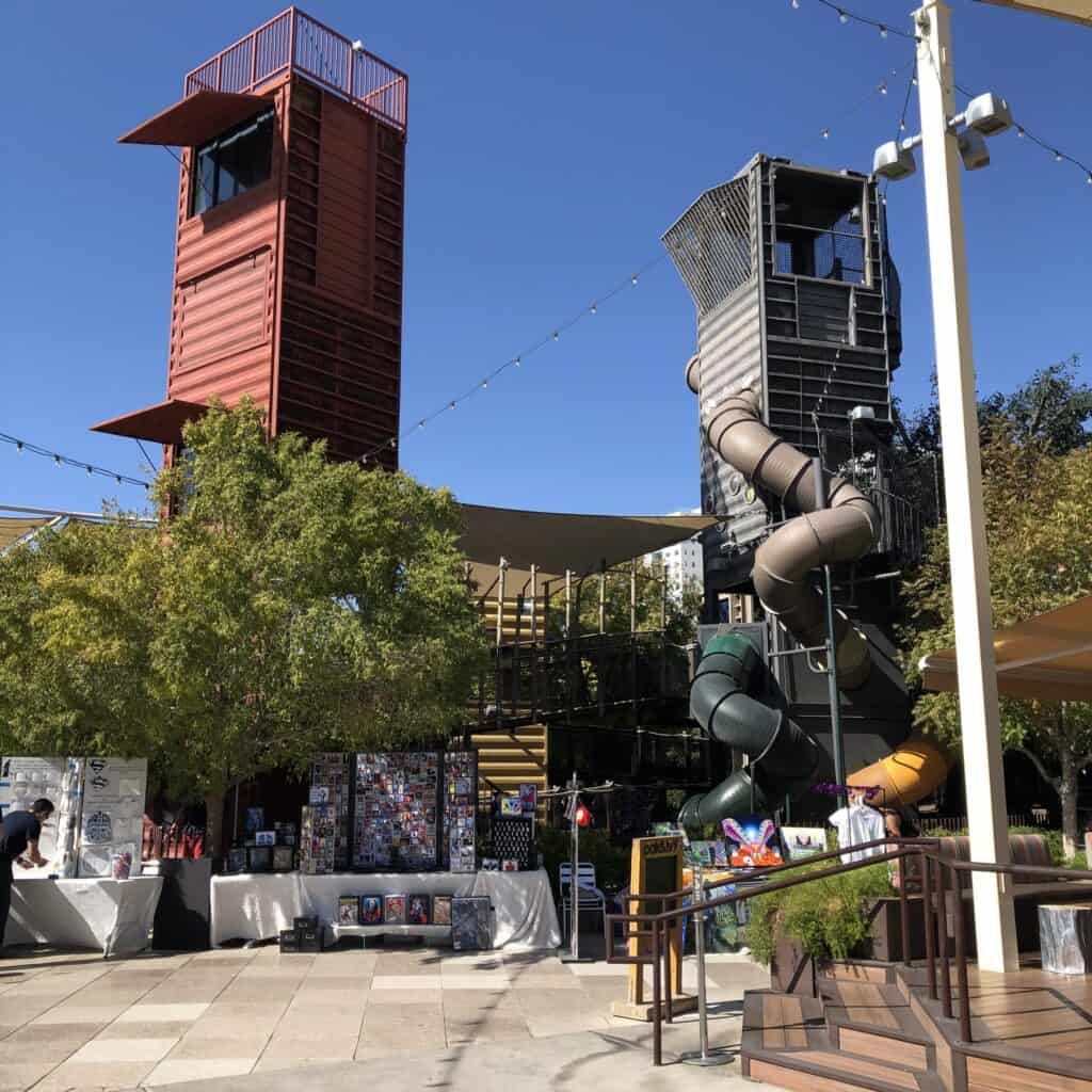 Two towers that comprise the Container Park's playground