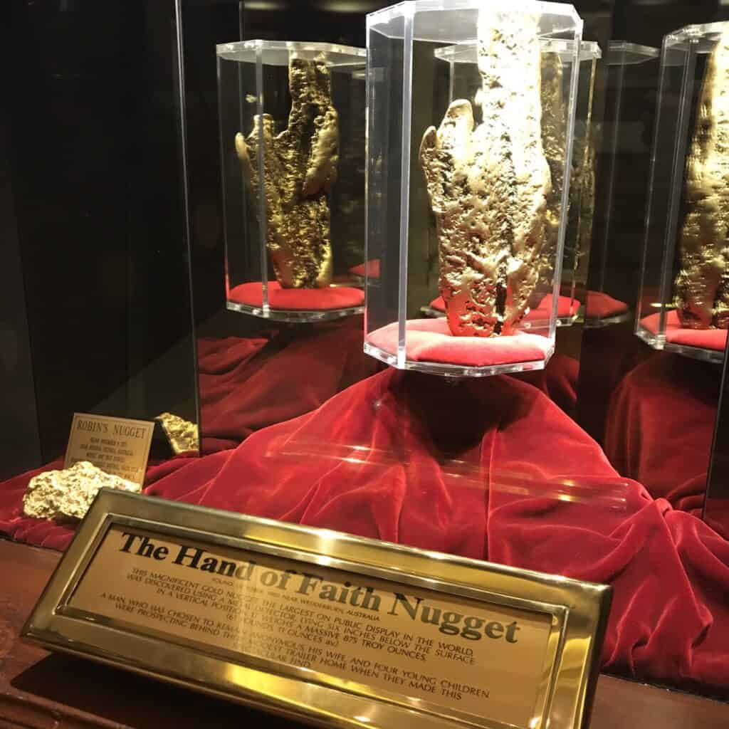 Hand of Faith gold nugget on display at the Golden Nugget