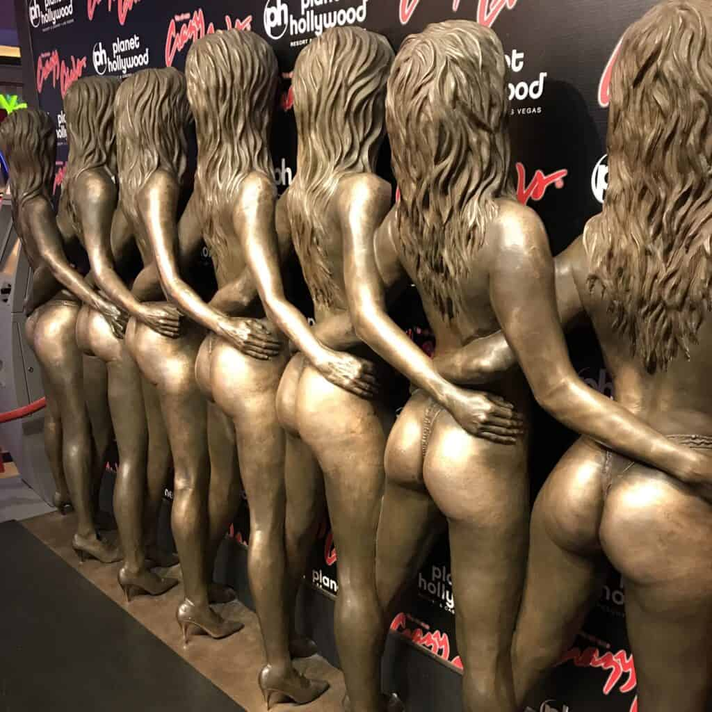 Bronze Crazy Girls Statue at Planet Hollywood