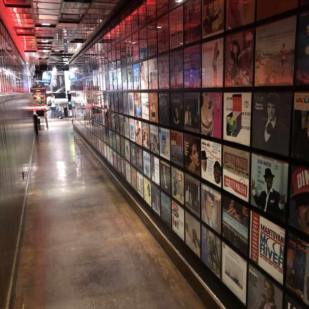 Hallway lined with record covers