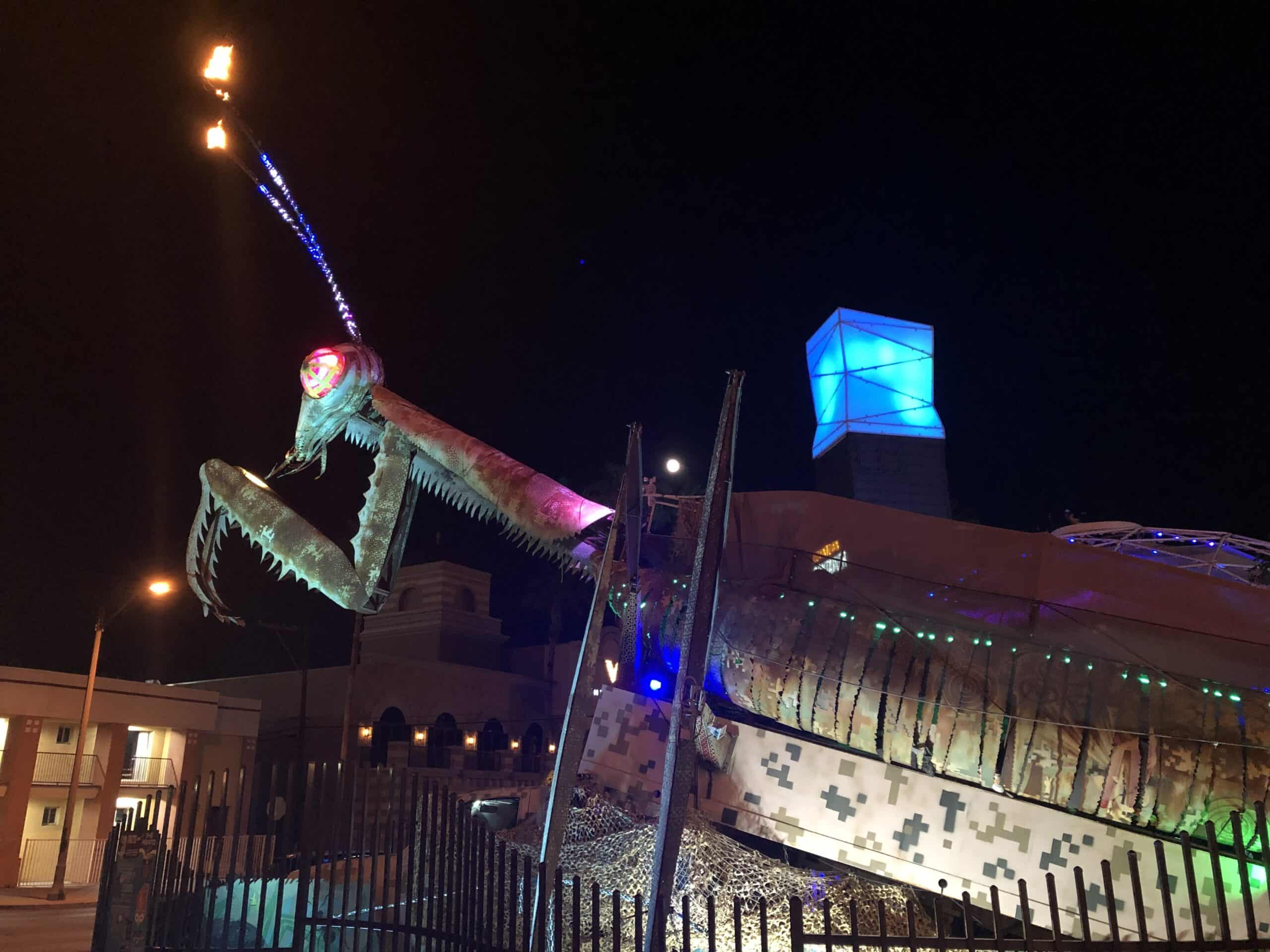 Downtown Container Park's Praying Mantis with fire coming out of its antennae