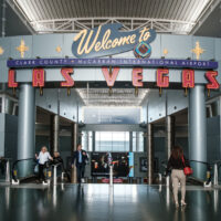 Sign welcoming visitors to Las Vegas at the Airport