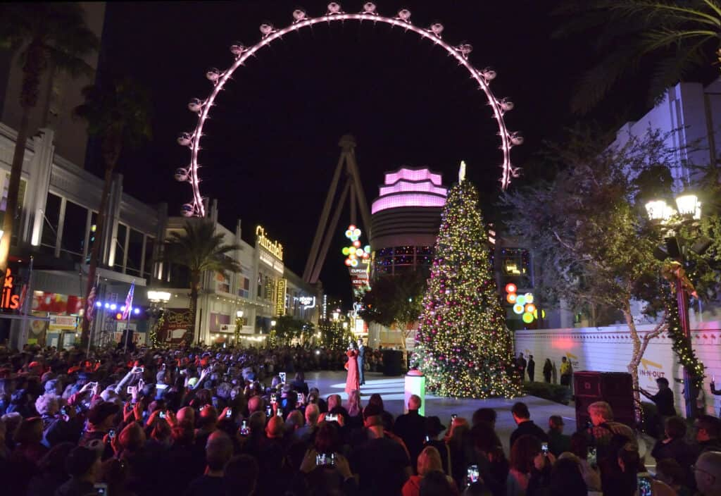 Concert stage at the Linq Promenade with the High Roller Observation Wheel in the Background