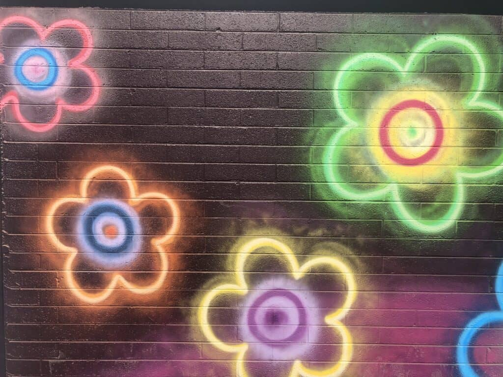 Mural of Neon flowers in the Arts District
