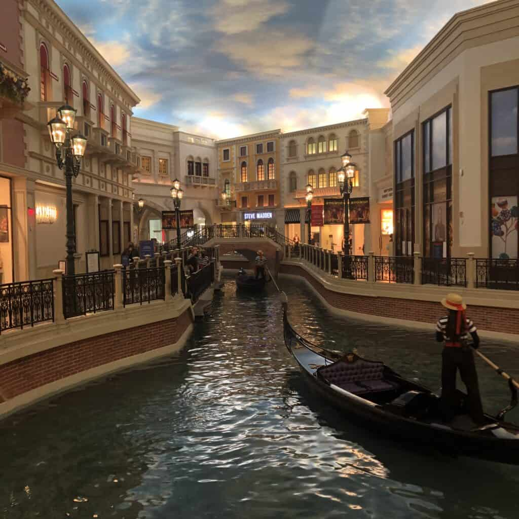 Gondolas in one of the Grand Canal Shoppes