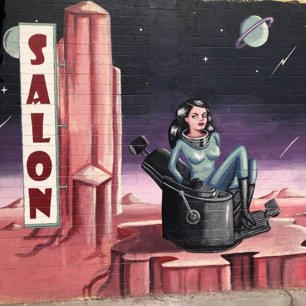 Space themed mural in the Arts District