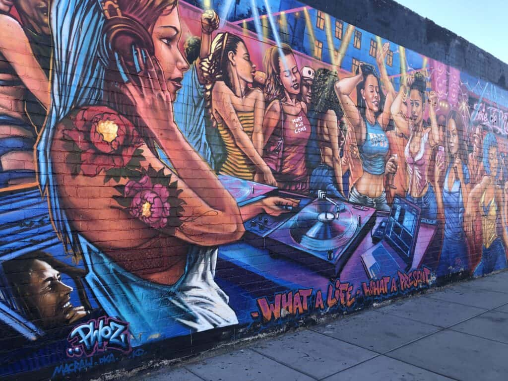 Party scene mural in the Arts District