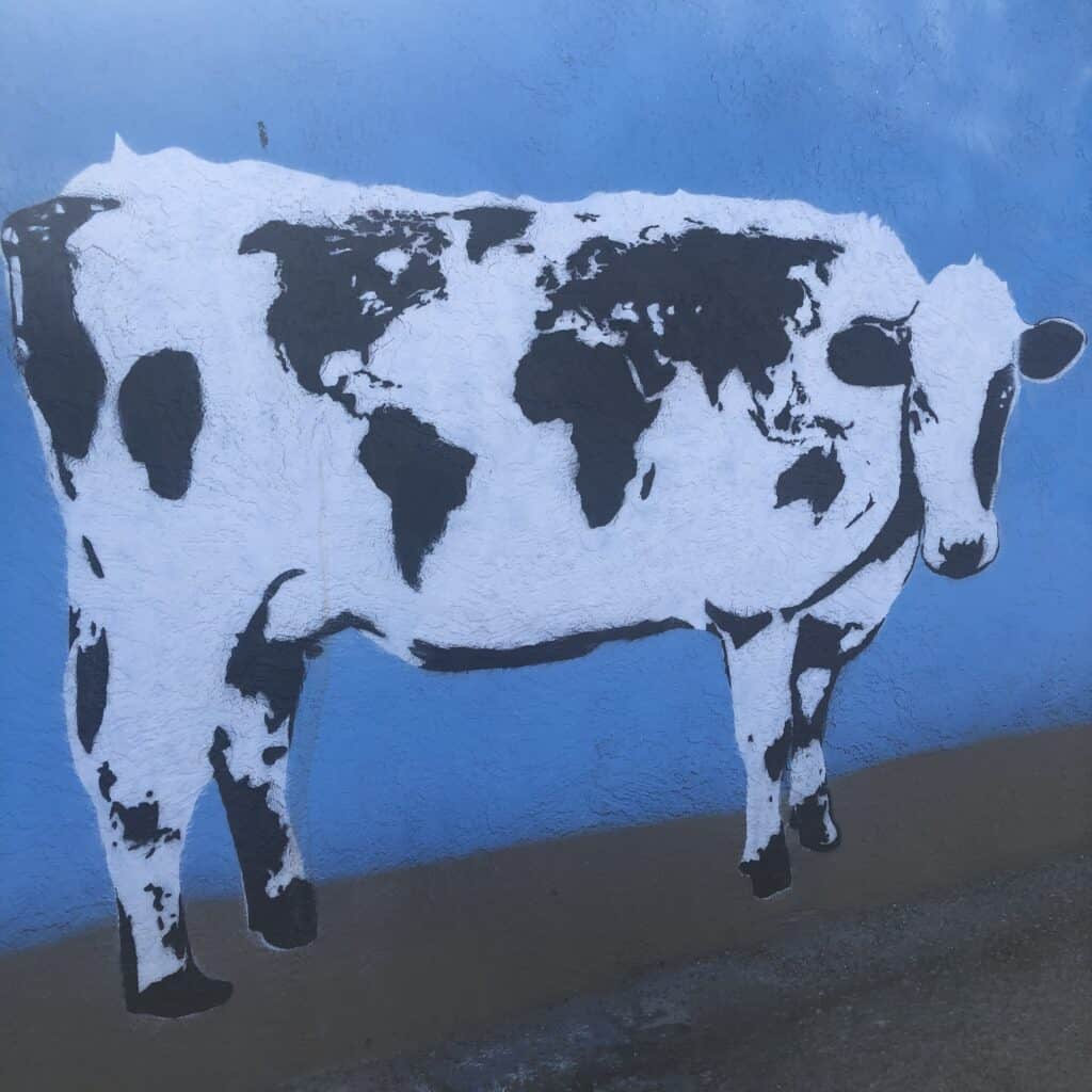 Mural of a cow in the Arts District