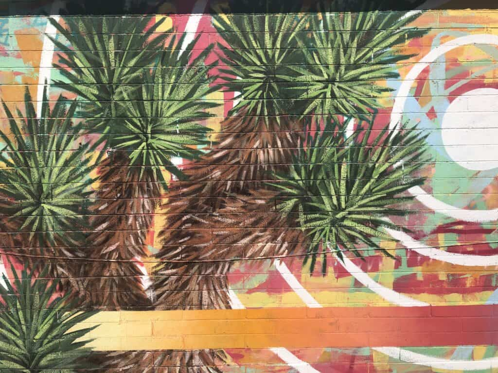 Mural of a palm tree in the Arts District