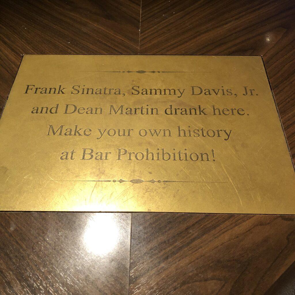 Plaque at Bar Prohibition!