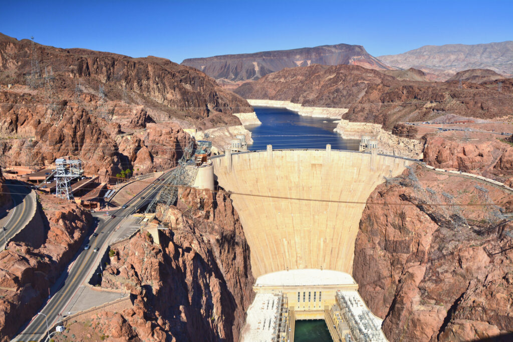 Hoover Dam holding back Lake Mead