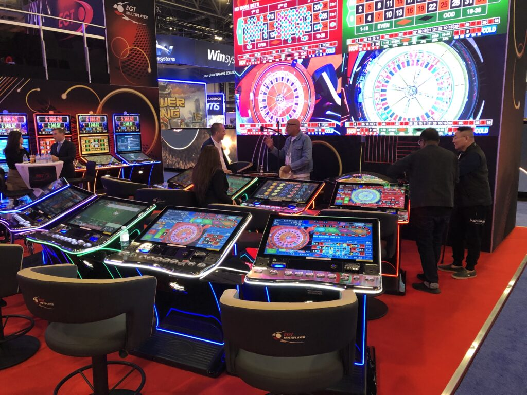 Stadium roulette betting stations with results screen in the background