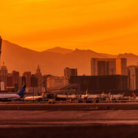 Las Vegas skyline with the airport control tower in the foreground