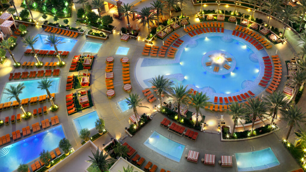 The pool at Red Rock photographed from above