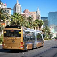 Bus heading down the Las Vegas Strip
