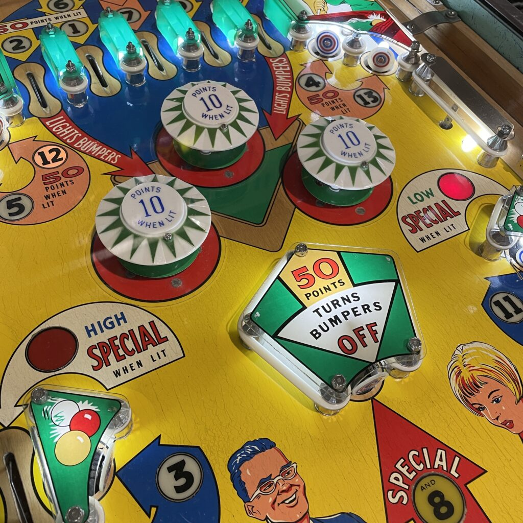 Lights and bumpers on a pinball machine