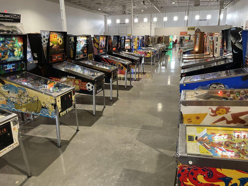 Row of pinball machines