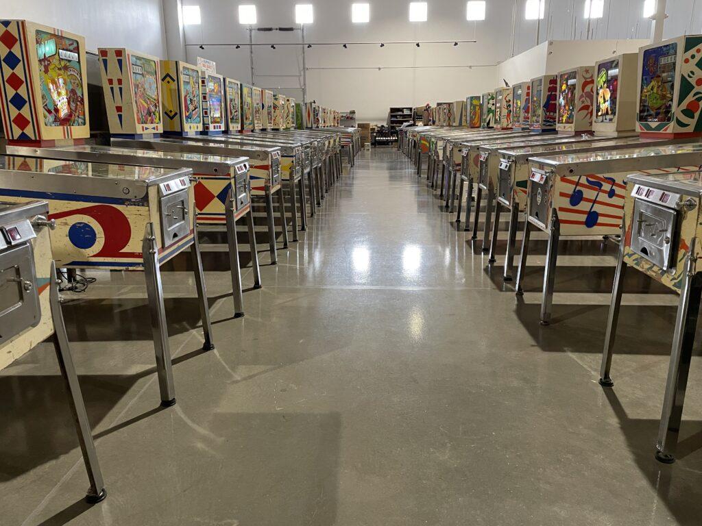 2 rows of pinball machines