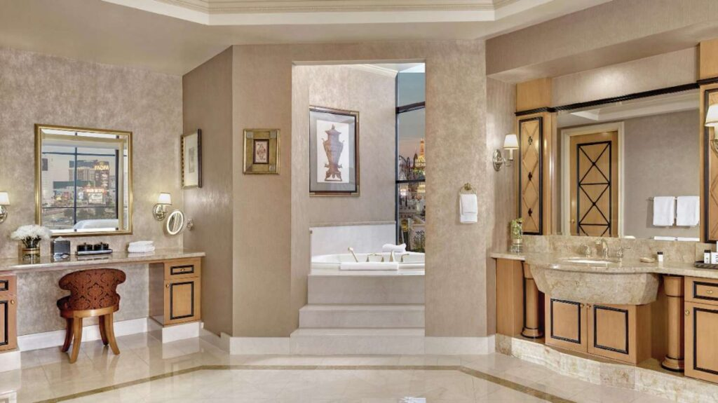 Vanity and tub in Luxor's 2 bedroom penthouse suite