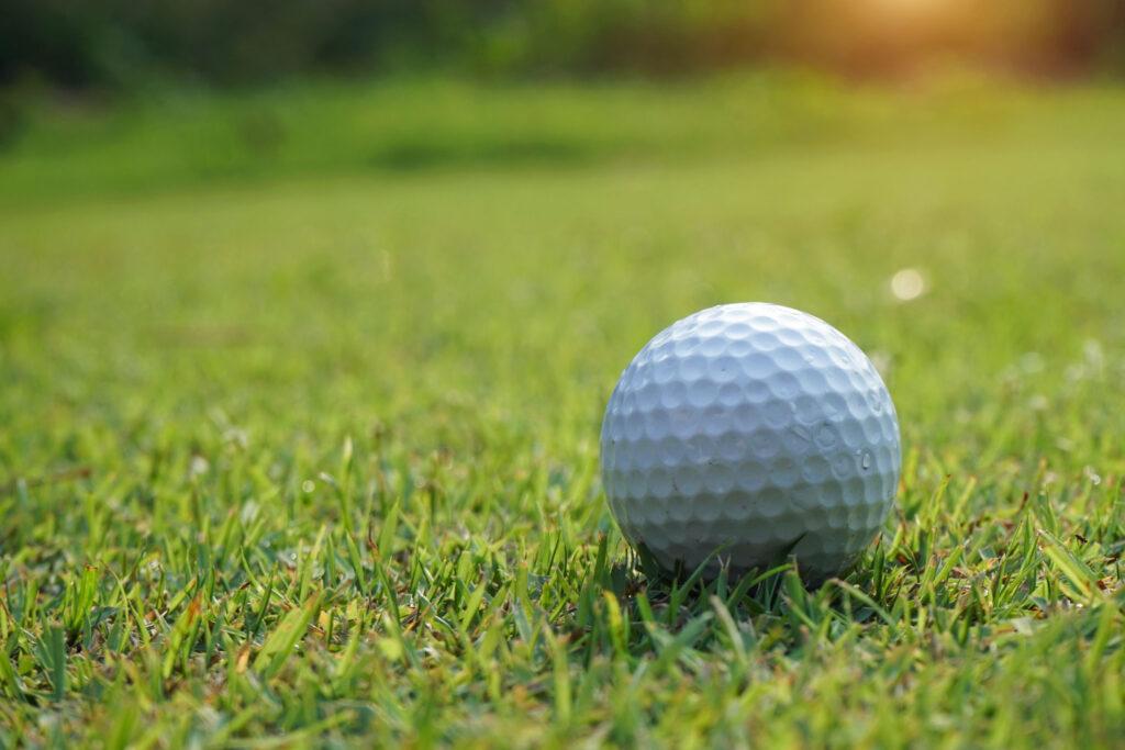 Golf ball sitting on grass