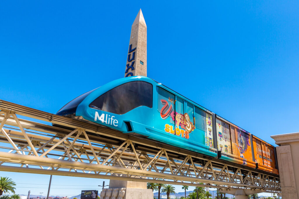 Free Tram on the tracks in front of Luxor