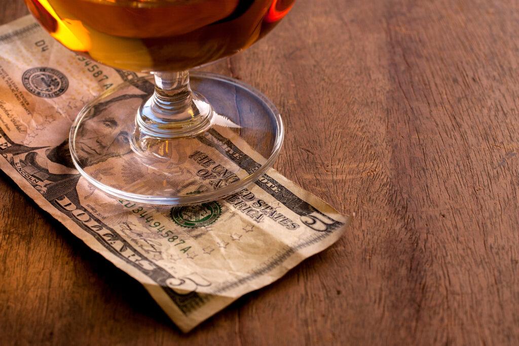 $5 tip under a beverage at the bar