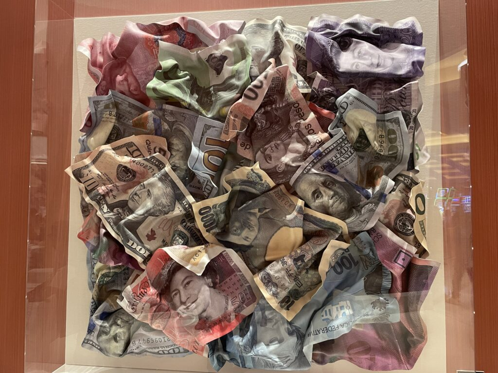 Artwork depicting cash from around the world