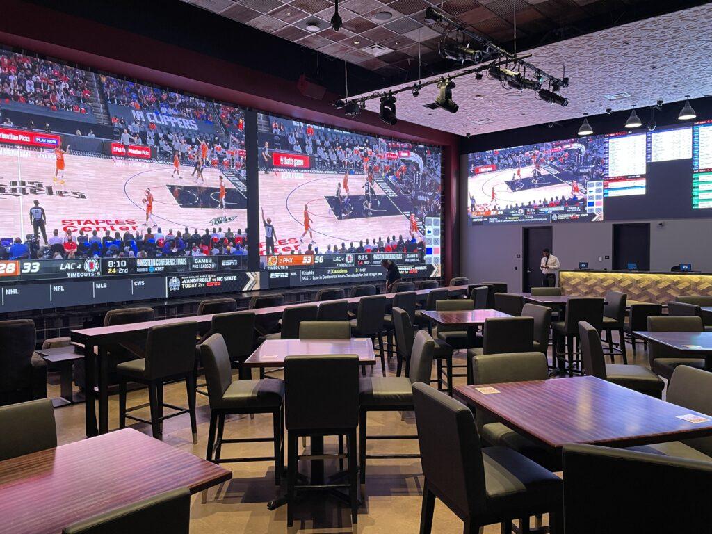 Sportsbook screens at Resorts World