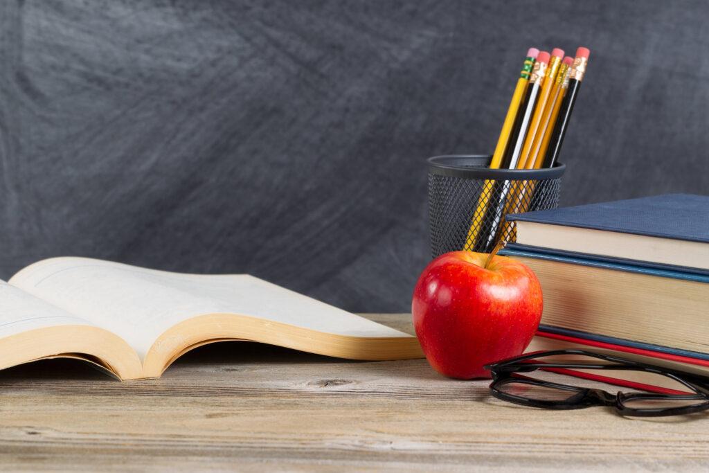 Teacher's desk with an apple