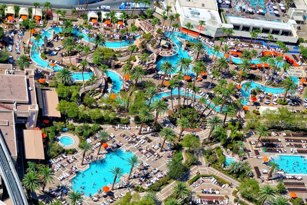 MGM Grand's pool complex from above
