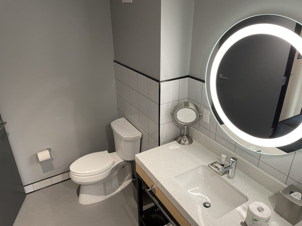 Sink and toilet in a Downtown Grand Superior hotel room.
