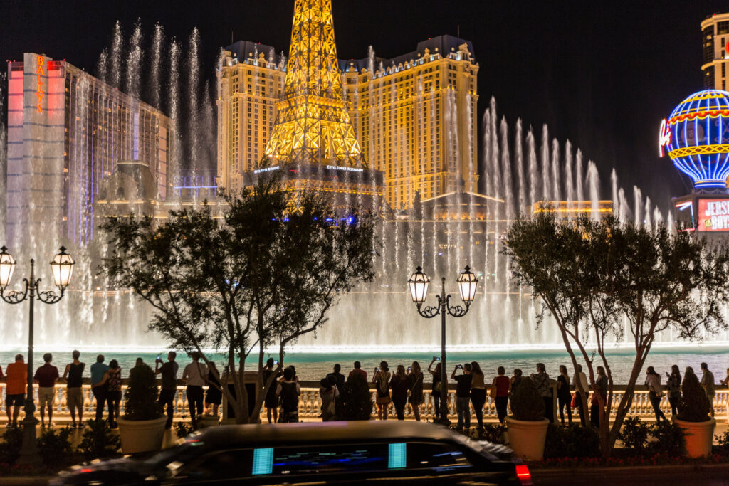 Fountains of Bellagio with Paris Las Vegas in the Background