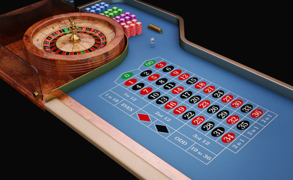 Roulette table and wheel