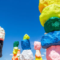 Colorful rocks stacked at Seven Magic Mountains