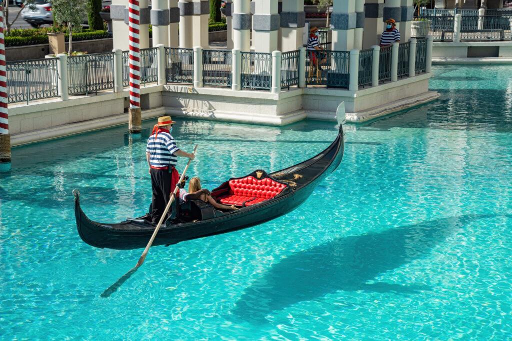 Gondola in the water at Venetian Las Vegas