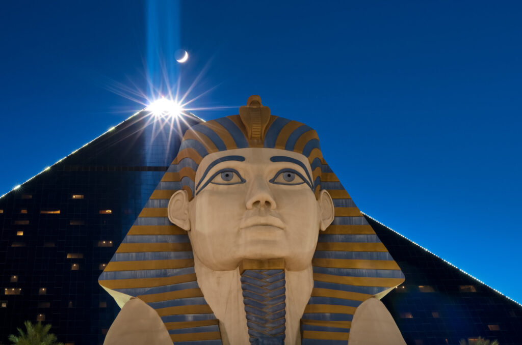 Luxor Las Vegas exterior with sphinx in the foreground
