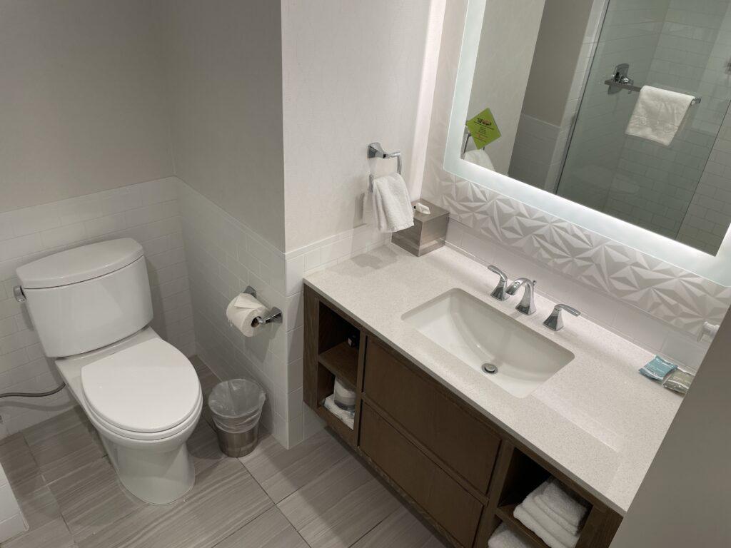 Single Sink vanity and toilet