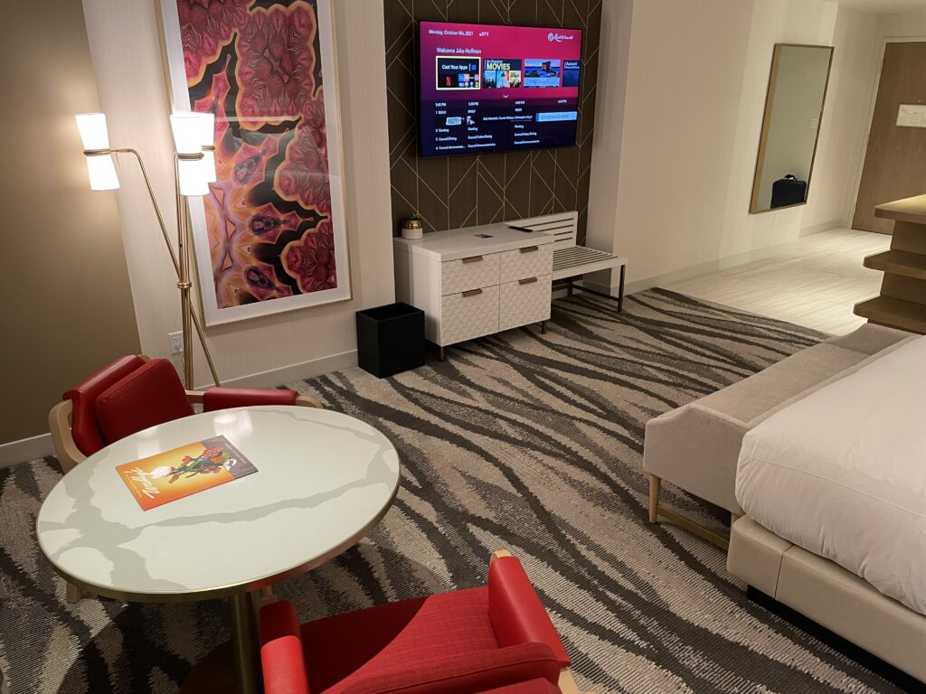 Resorts World Living Area and TV
